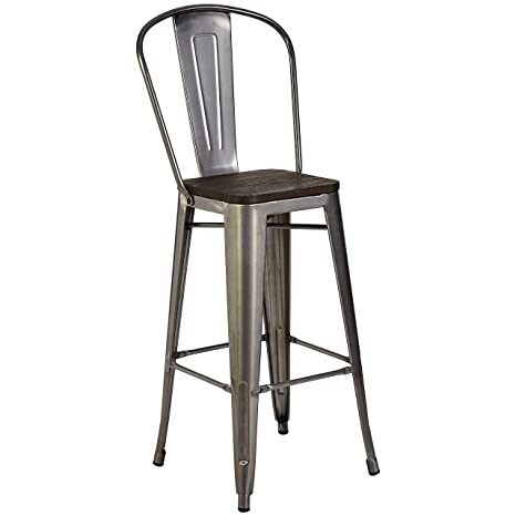Remarkable Pioneer Square Midvale 30 Inch Bar Height Metal Stool With Back Rest Set Of 2 Silver Gray Gmtry Best Dining Table And Chair Ideas Images Gmtryco