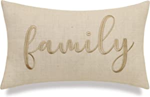"""EURASIA DECOR DecorHouzz Burlap Rustic Home Sweet Home Embroidered Decorative Lumbar Pillow for Housewarming Guest Entry Way Family Farmhouse Beach Porch Bench Gift (Family (Offwhite), 12""""x20"""")"""