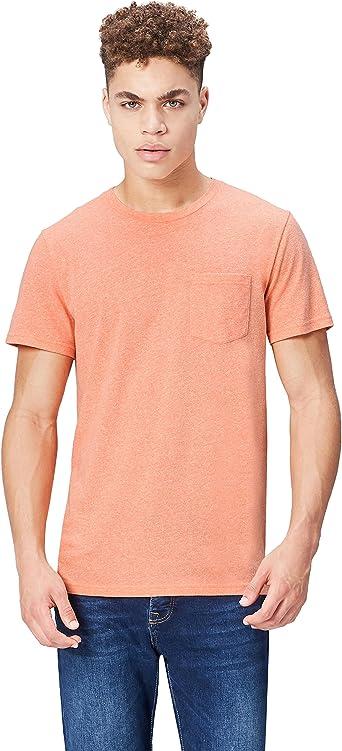 Marca Amazon - find. Camiseta Jaspeada de Cuello Redondo para Hombre
