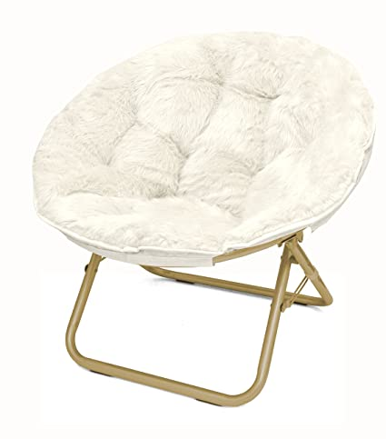 Charmant Urban Shop Faux Fur Saucer Chair With Metal Frame, One Size, White