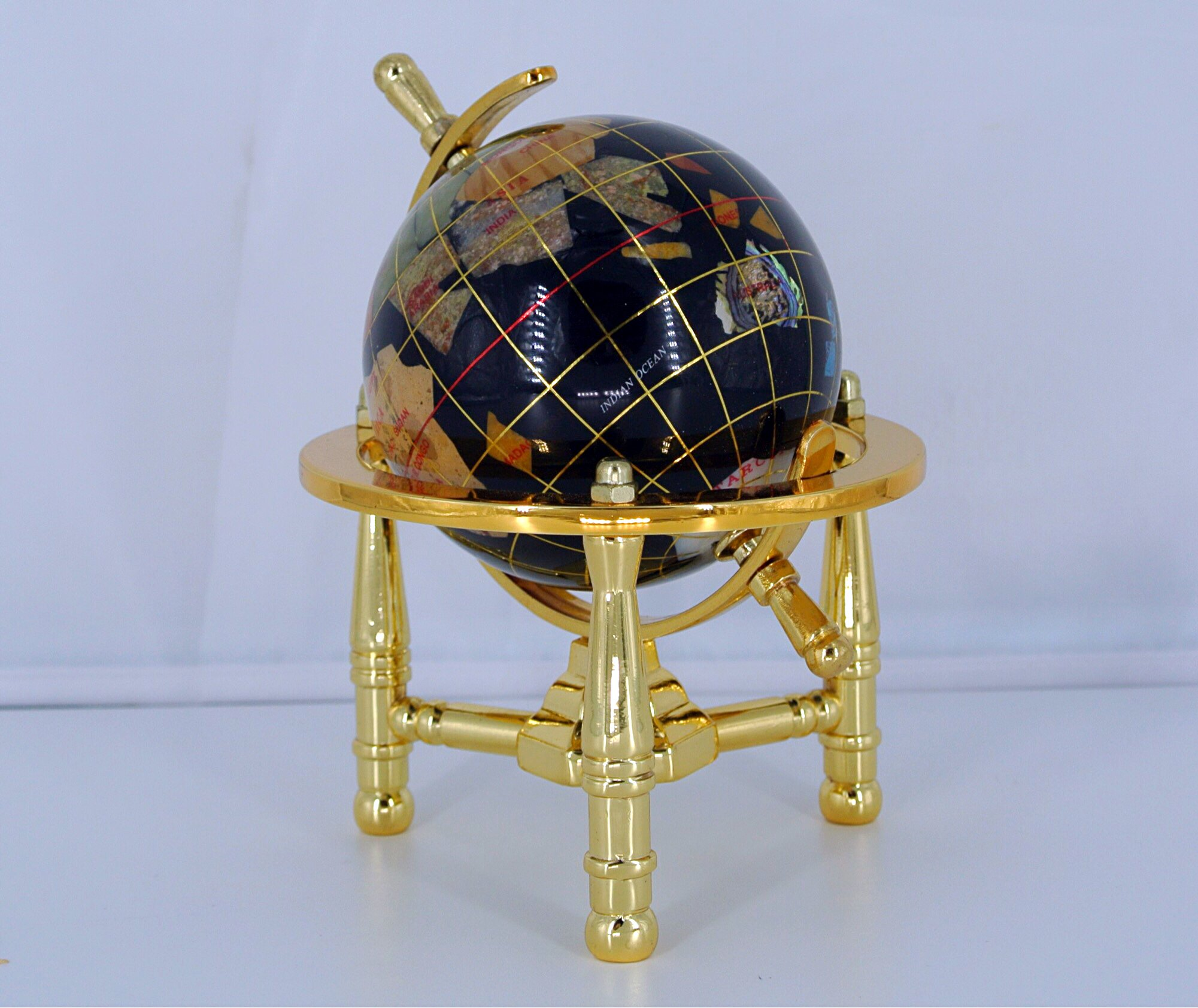 Unique Art 6-Inch by Black Onyx Ocean Mini Table Top Gemstone World Globe with Gold Tripod