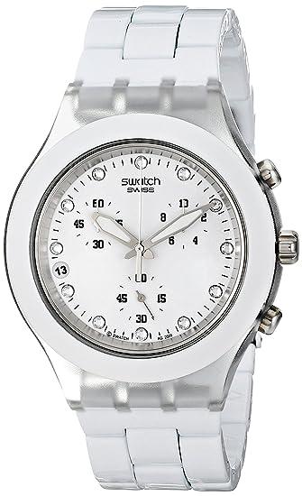 Swatch SVCK4045AG - Reloj analógico de mujer de cuarzo con correa blanca (cronómetro) - sumergible a 30 metros: Swatch: Amazon.es: Relojes