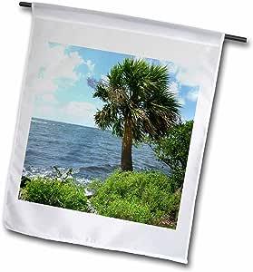 Florene Tropical Landscape - Palms n River - 12 x 18 inch Garden Flag (fl_46582_1)