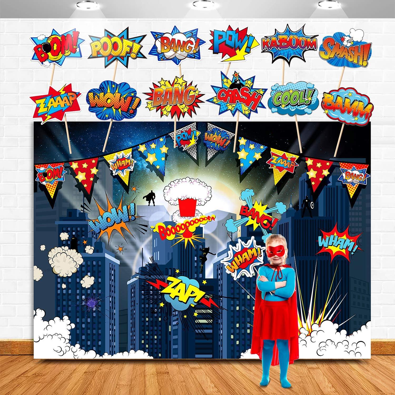 TMCCE Superhero Birthday Party Backdrop Supplies- Superhero Cityscape Photography Backdrop, 12 Superhero Photo Booth Props For Kids Superhero Birthday Party Decorations