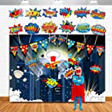 TMCCE Superhero Birthday Party Backdrop Supplies- Superhero Cityscape Photography Backdrop, 12 Superhero Photo Booth Props For Kids Superhero Birthday Party Decorations