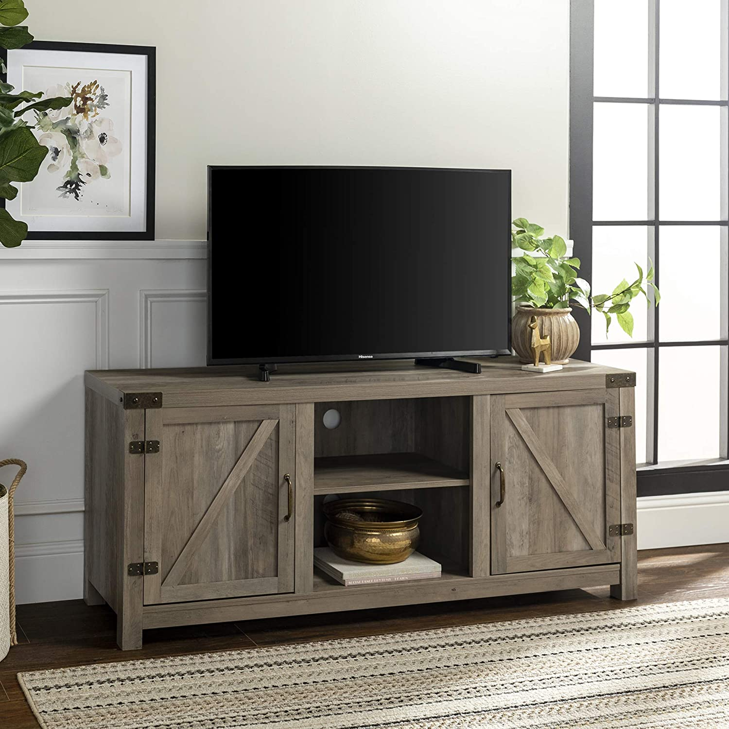 "Walker Edison Farmhouse Barn Wood Universal Stand for TV's up to 64"" Flat Screen, Storage Cabinet Doors and Shelves, Entertainment Center, 58 Inch, Grey Wash: Furniture & Decor"