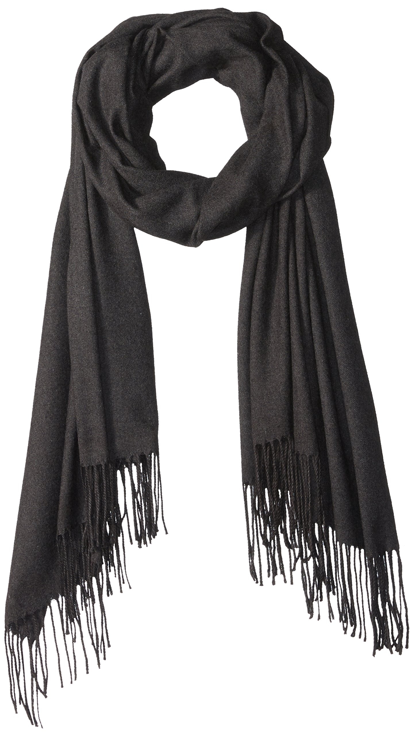 PURE STYLE Girlfriends Women's Super Soft, Elegant, Fringed Scarf Pashmina Shawl Versatile, black, One Size