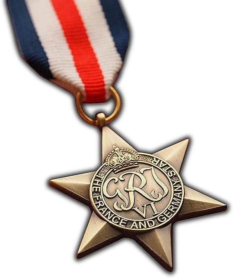 Medalla Militar Estrella de Francia y Alemania WW2 Premio Militar Británico del Commonwealth   Ejército   Armada   RAF   REPLICA George VI: Amazon.es: Deportes y aire libre