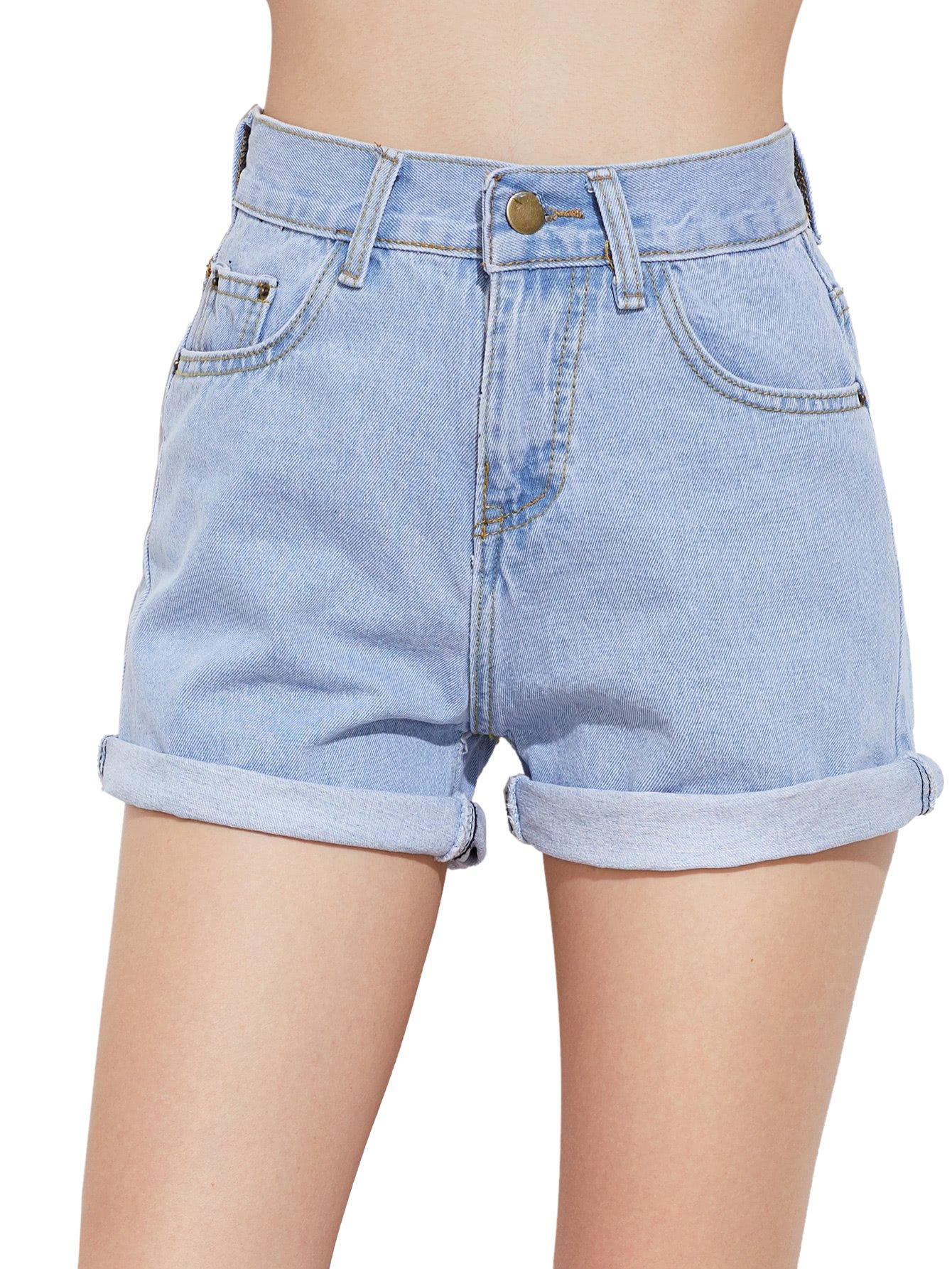 SweatyRocks Women's Retro High Waisted Rolled Denim Jean Shorts with Pockets (Small, Light Blue#4)