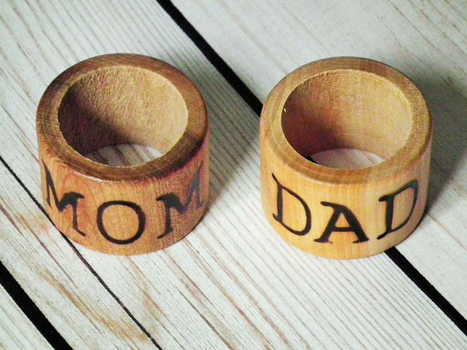 Mom and Dad wood napkin rings