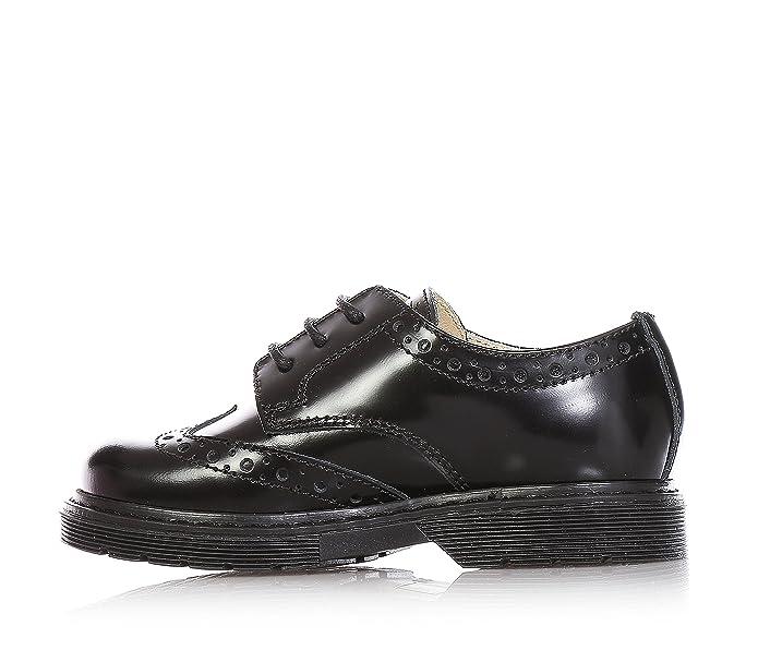 FLORENS - Chaussure à l'anglaise noire en cuir brillant, réalisation à l'anglaise  perforée, coutures visibles et semelle en caoutchouc, Fille, Filles-24: ...