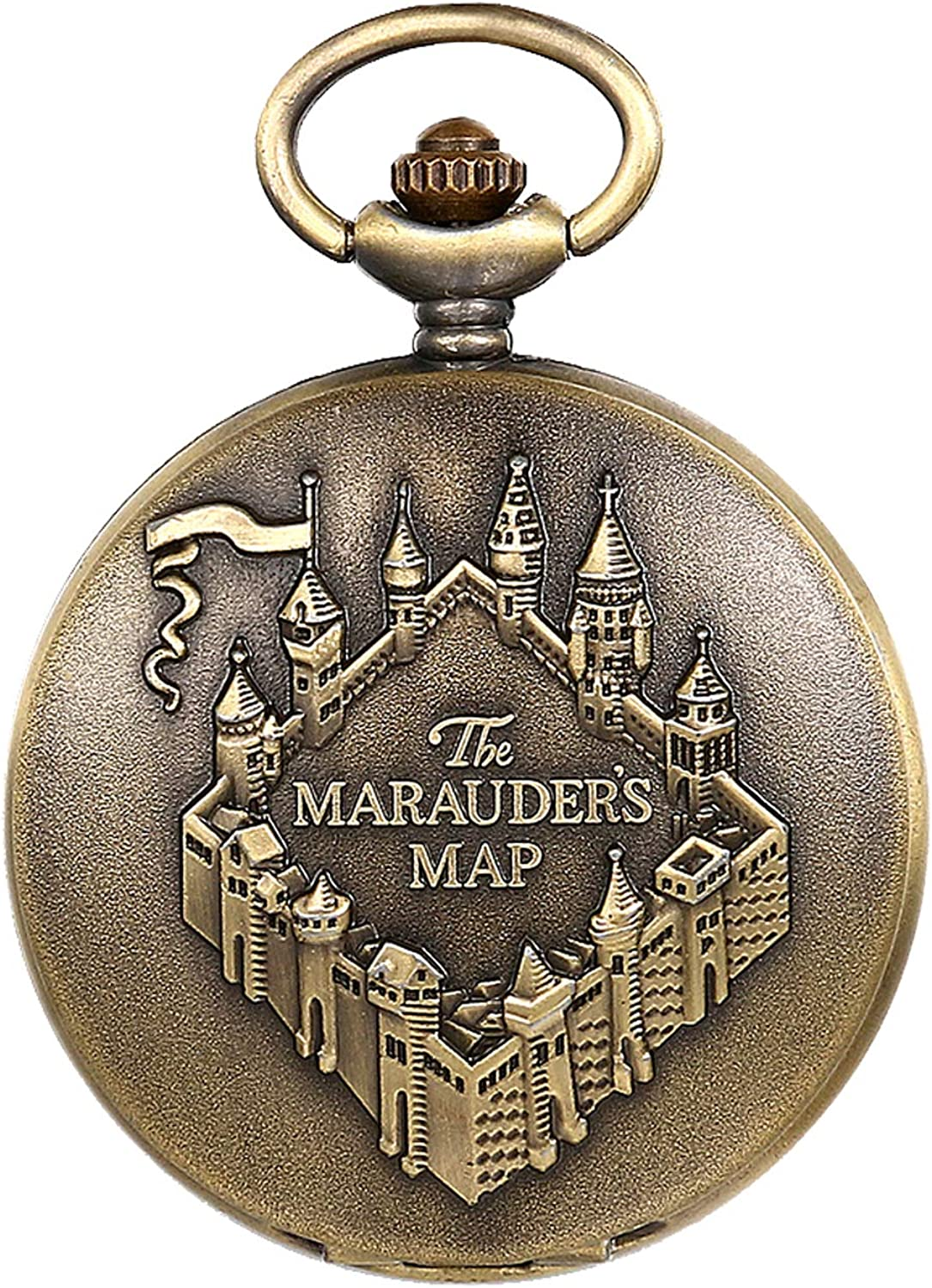 JewelryWe The Marauder's Map Pocket Watch Classic Quartz Watch Necklace Pendant Watches with Chain