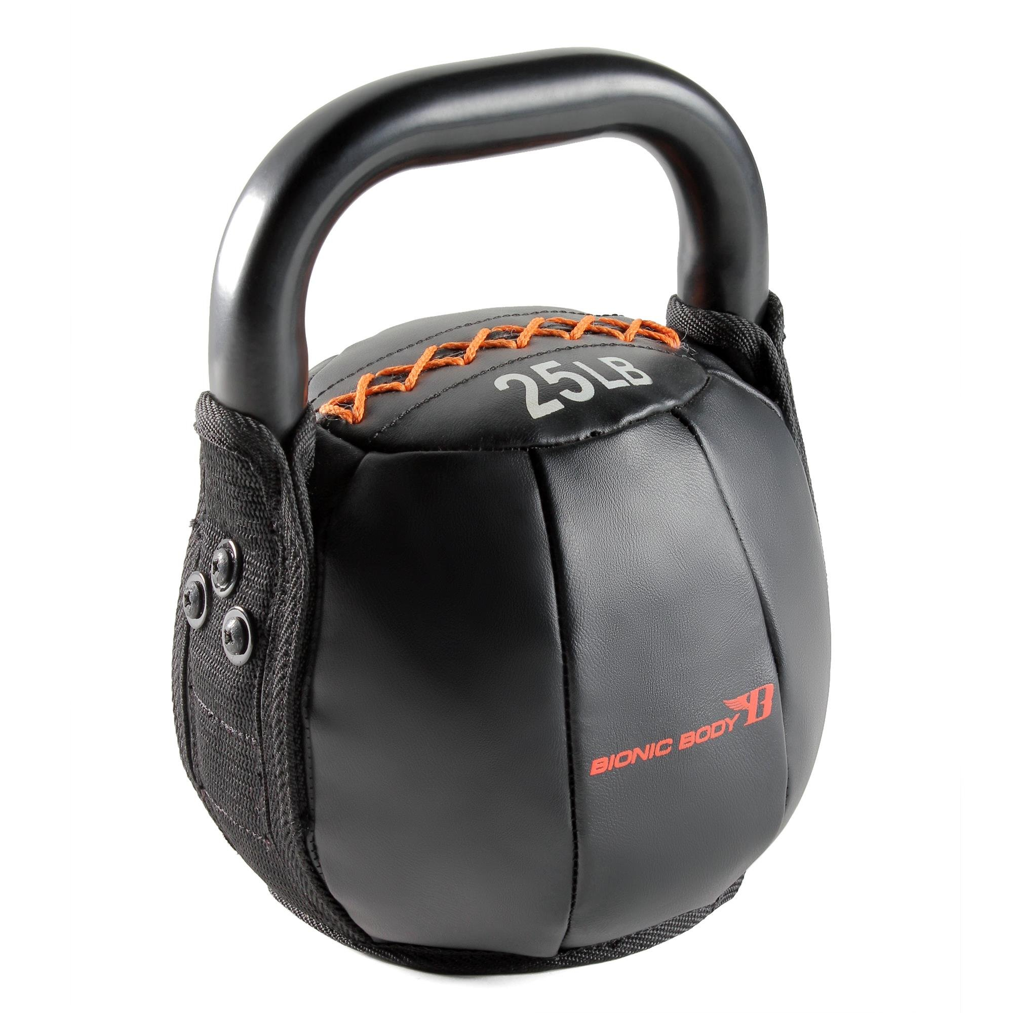 Bionic Body Soft Kettle Bell with Handle, 25 lb, Black
