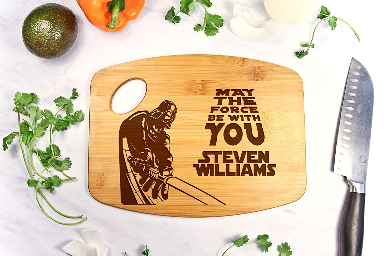 Personalized Cutting Board Engraved Bamboo Chopping Block Bamboo Handle - Star Wars Darth Vader