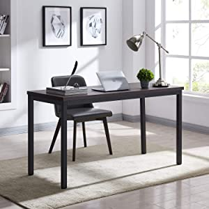 """AMOAK 55"""" Simple Computer Desk, PC Laptop Study Table for Home Office, Industrial Style Writing Study Table for Living or Dining Room, 1.18in (3cm) Thickened Desktop, Espresso"""