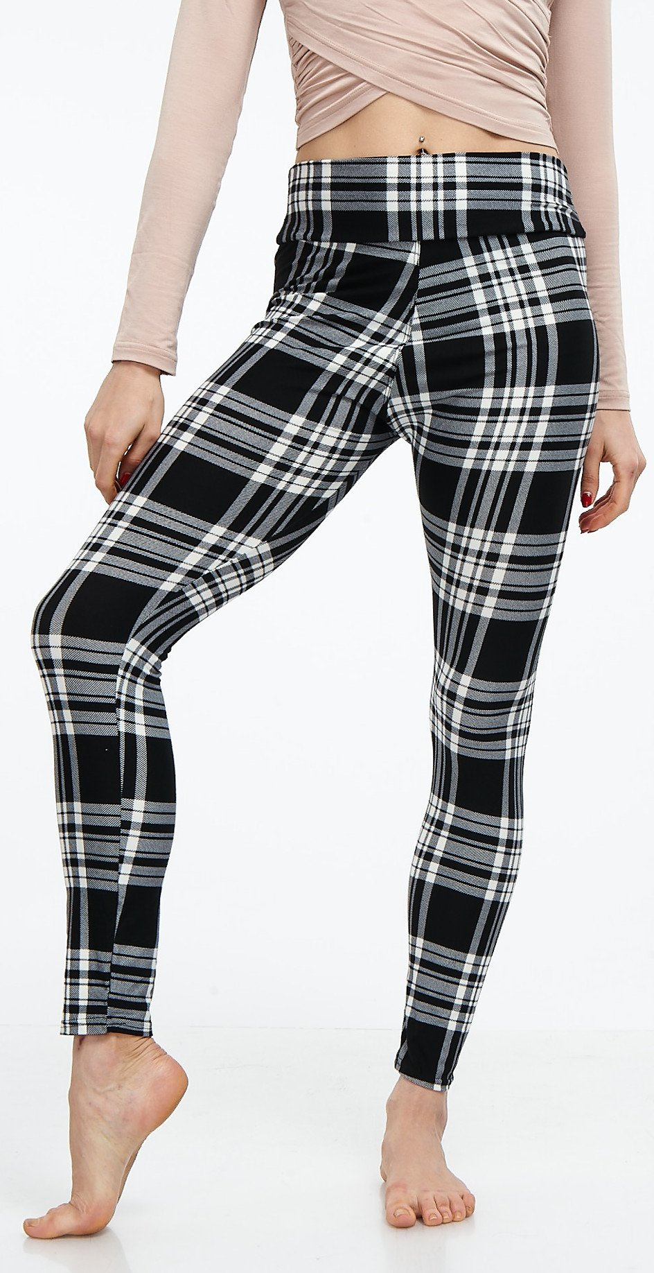 LMB Lush Moda Extra Soft Leggings with Designs- Variety of Prints Yoga Waist - 769YF Black White Plaid B5 by LMB (Image #2)