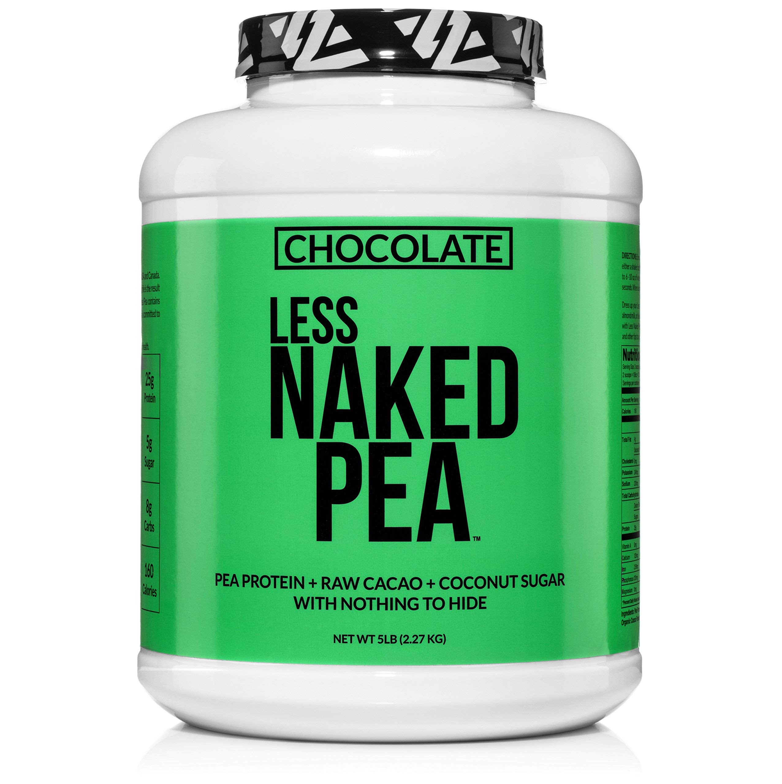 LESS NAKED PEA - CHOCOLATE PEA PROTEIN - Pea Protein Isolate from North American Farms - 5lb Bulk, Plant Based, Vegetarian & Vegan Protein. Easy to Digest, Non-GMO, Gluten Free, Lactose Free, Soy Free by NAKED nutrition