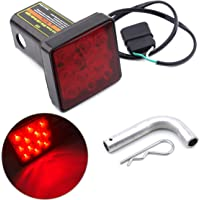 """Keyecu 12 LED Tail Brake Light with 2"""" Red Lense Trailer Hitch Receiver Cover for Towing Hauling Truck SUV RV 12V"""