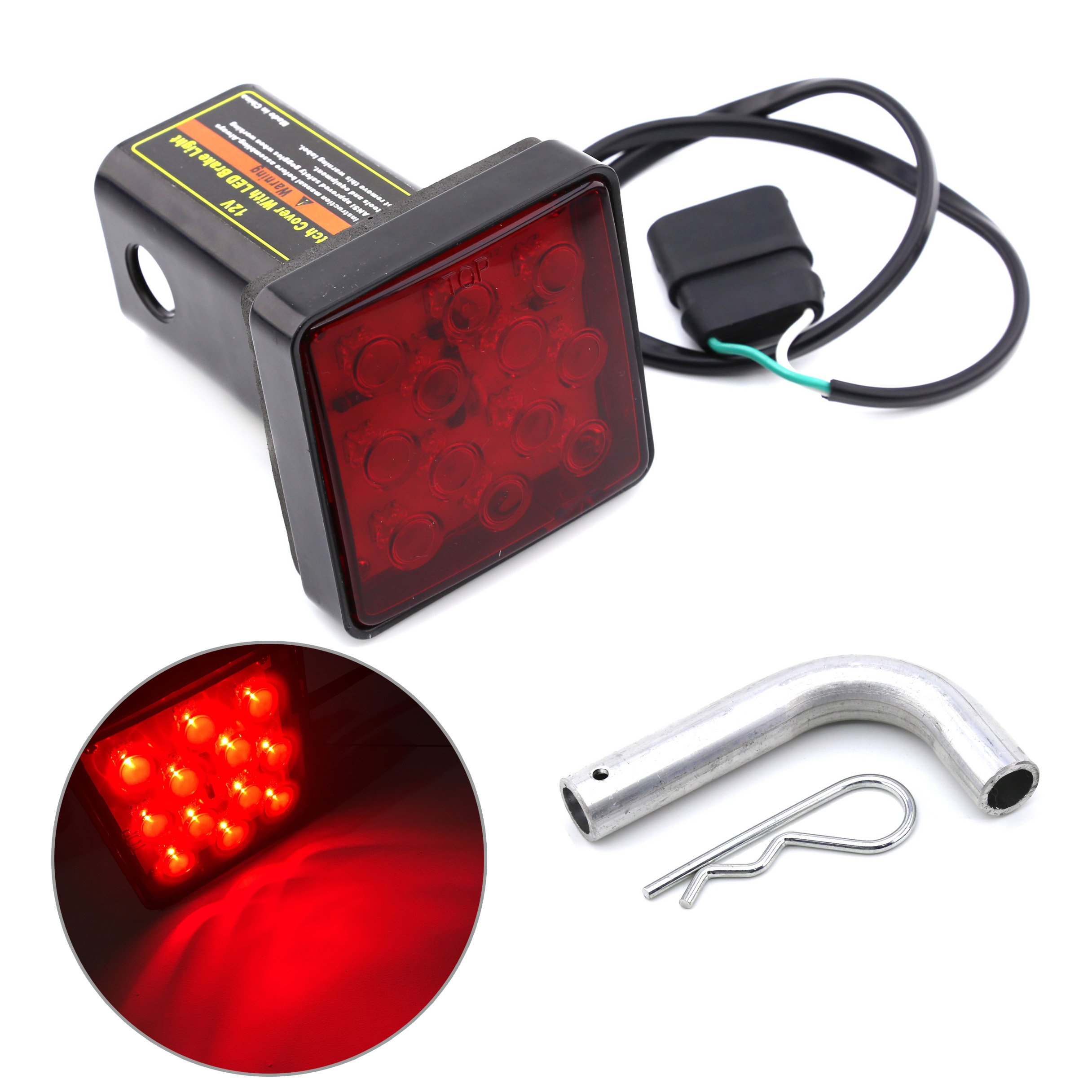 Keyecu 12 LED Tail Brake Light with 2'' Red Lense Trailer Hitch Receiver Cover for Towing Hauling Truck SUV RV 12V by Keyecu