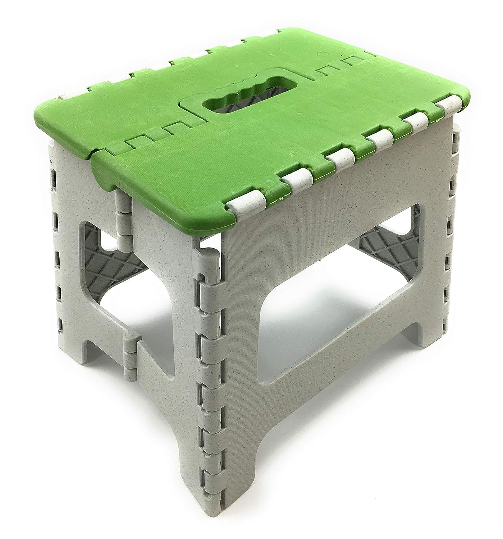 Home Point Klapphocker aus stabilem Kunststoff - Tritthocker 27x29x22cm (HxBxT) - Sitzhocker zusammenklappbar - Hocker tragbar mit Griff - auch als Klapptritt Sitz verwendbar (blau (1 Stk.))