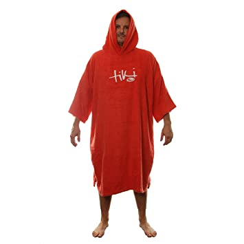 99dd5353cc Tiki Adult Mens Womens Hooded Towelling Changing Robe Beach Swim Poncho Red