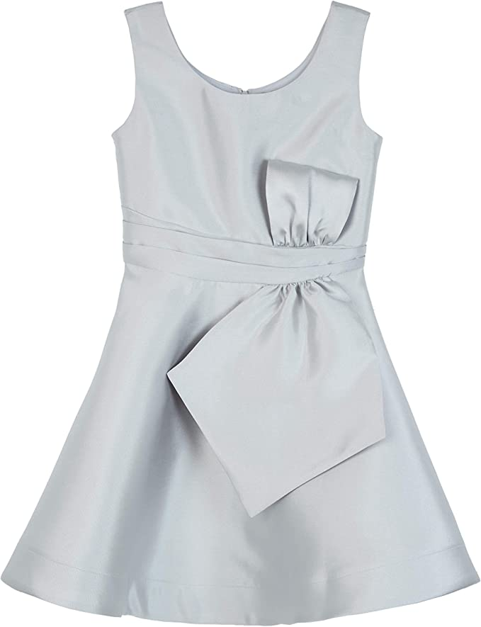 Amy Byer Girls' Big Bow Front Dress, Grey, 14