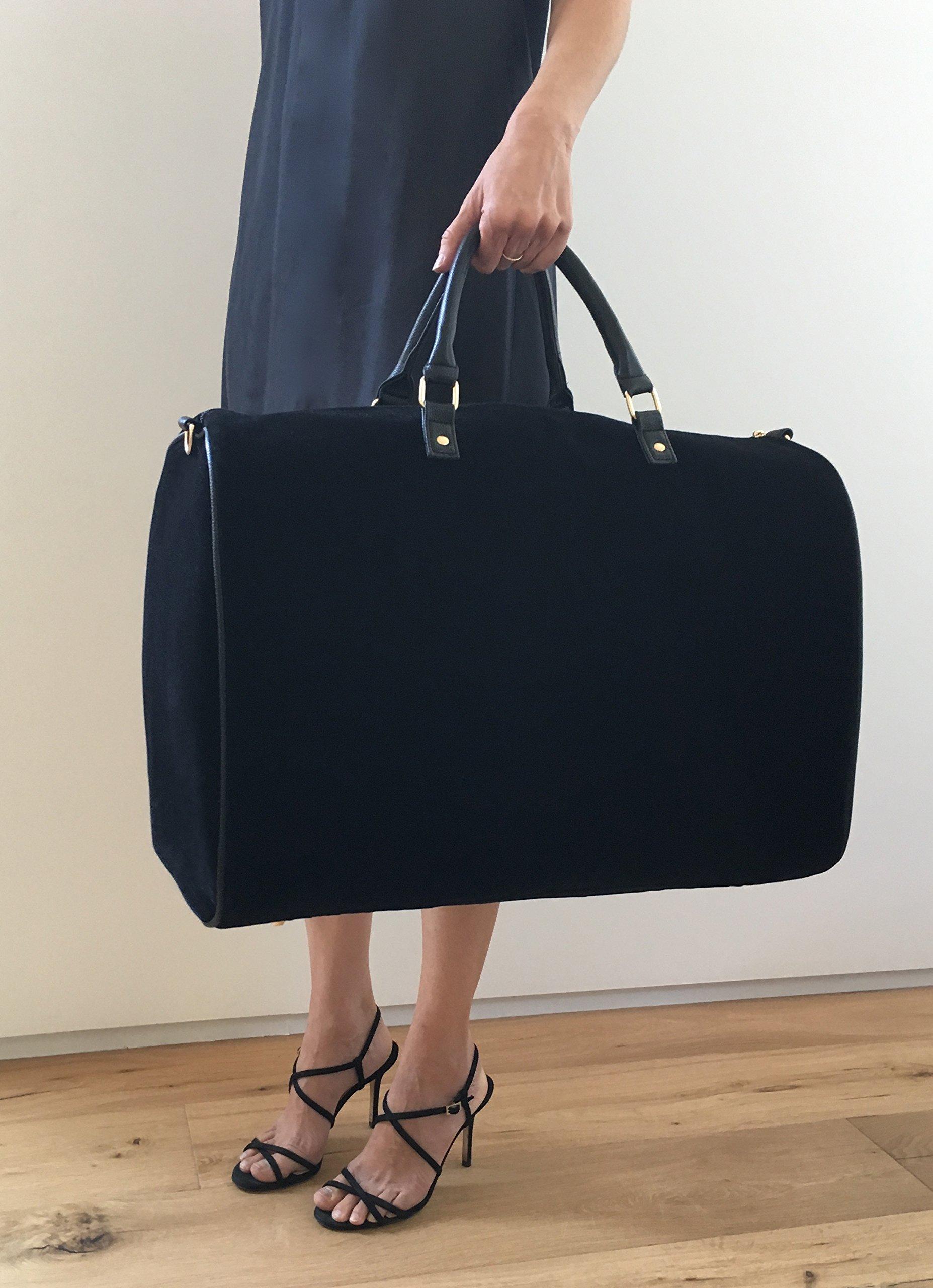 Limited Time Sale - Womens Black Velvet Weekender Bag, Duffle Bag, Overnight Bag, Travel Bag, Luggage, Large Tote Bag, Fashion Bag, Durable Bag, Best Handbag for women (Classic Black) - MSRP $99 by Lulu Dharma (Image #2)
