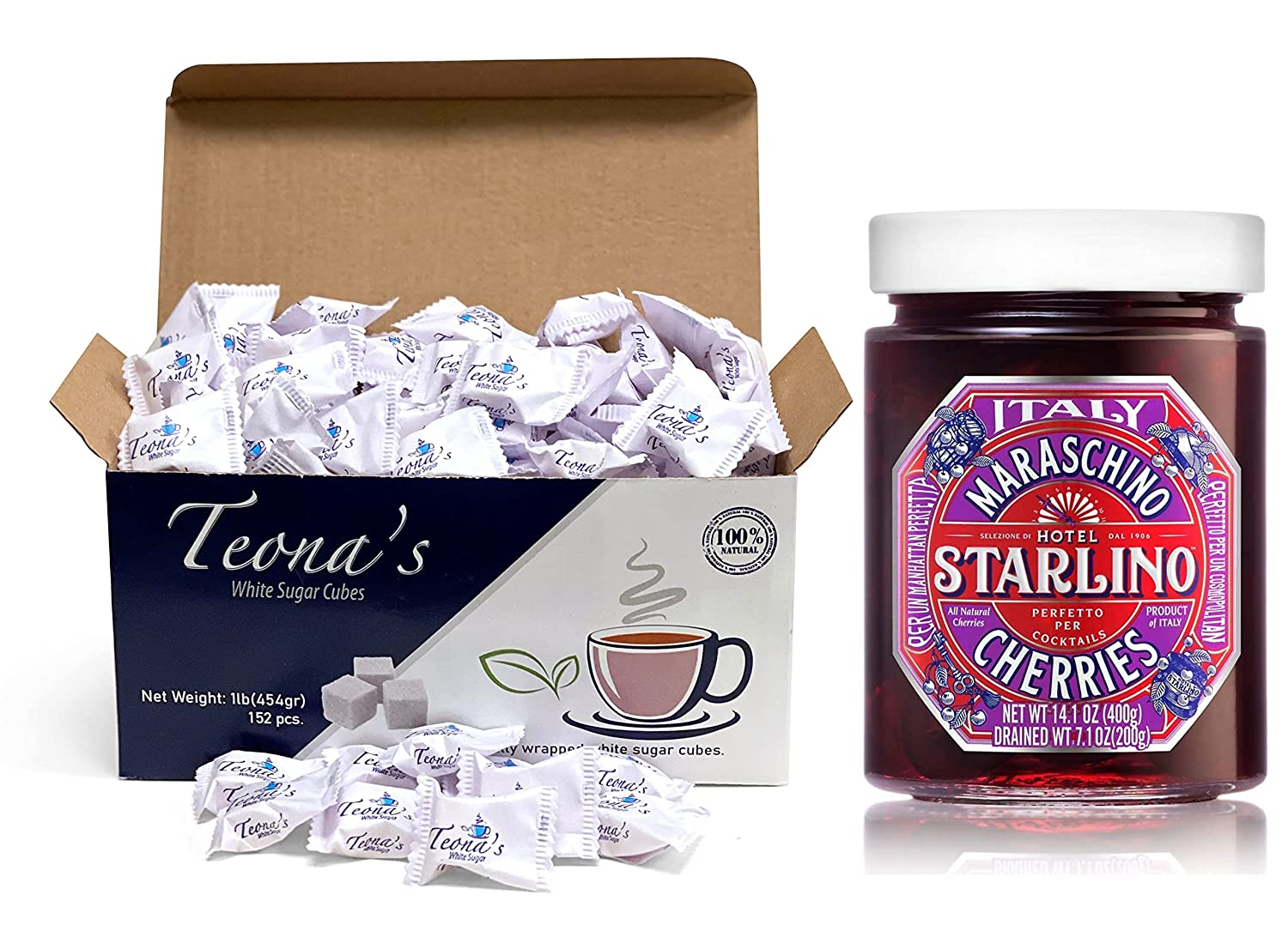 Teona's White Sugar Cubes & Maraschino Cherries Pack - 76 White Sugar Packets for Coffee, Tea, Food Service - 400g Pitted Maraschino Cherries with Stems Removed, Organic Fruits for Making Cocktails