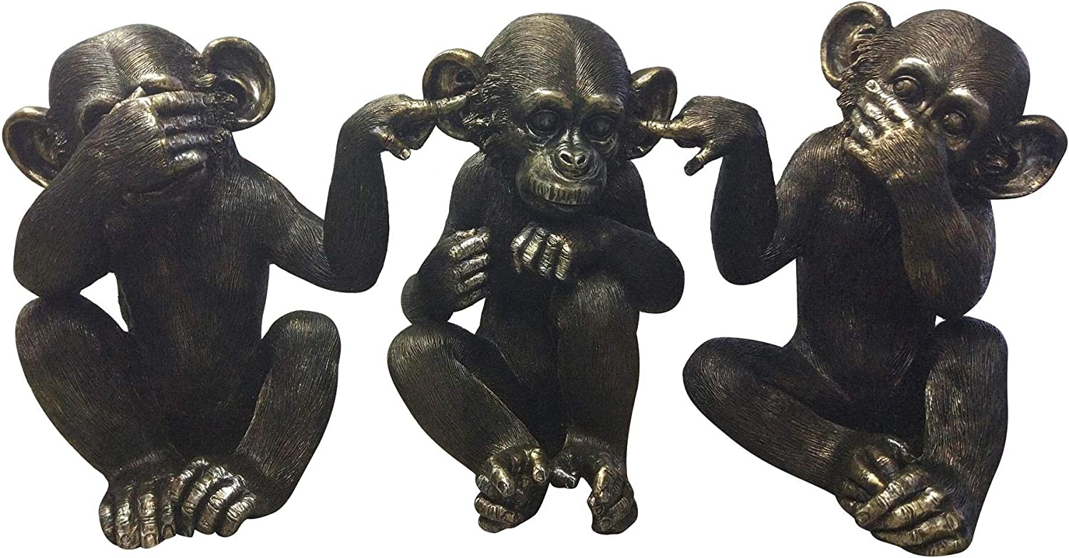 Moe's Home Collection He did it Chimps in Black - Set of 3