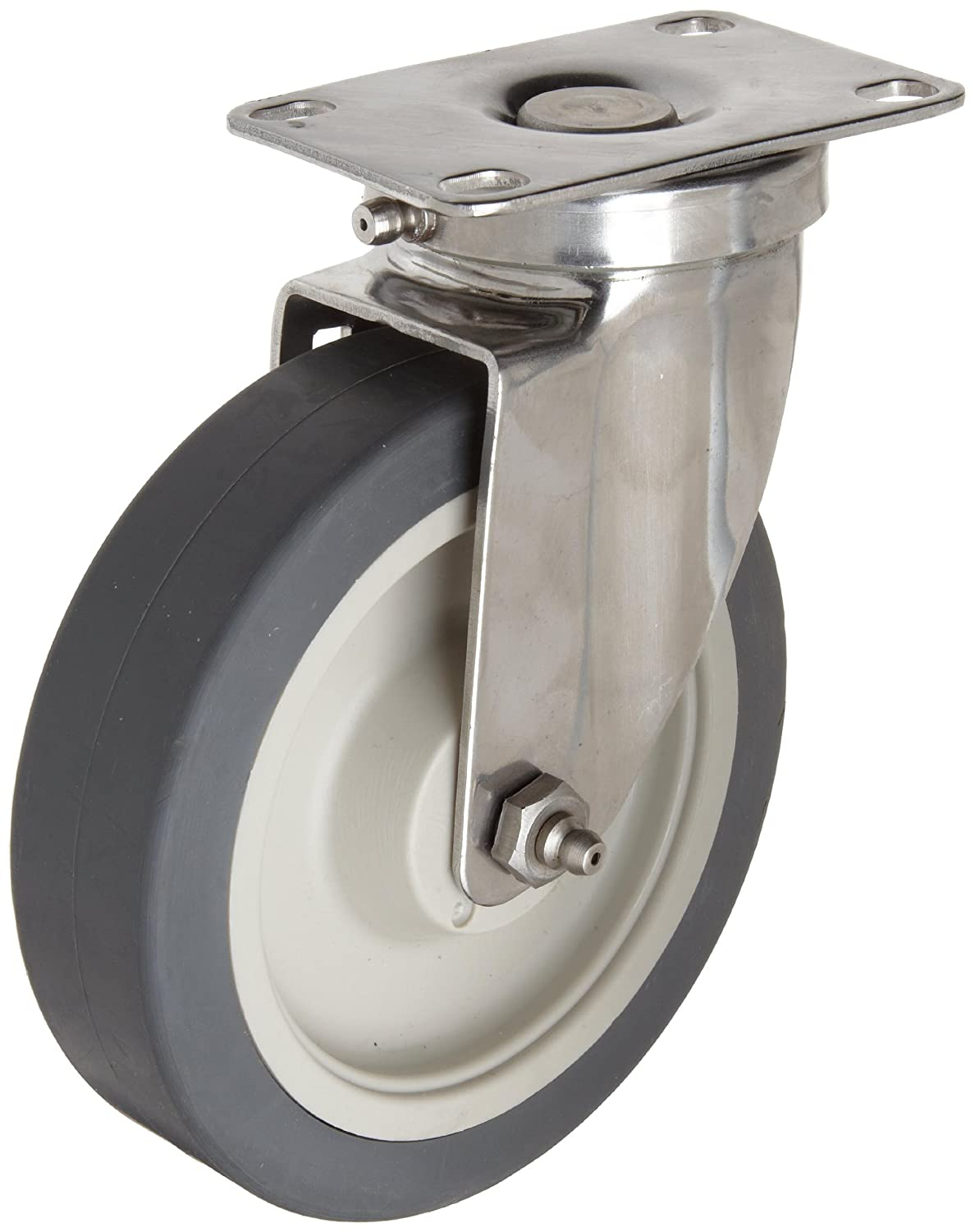 E.R. Wagner Americaster Plate Caster, Swivel, Dust Cover, TPR Rubber on Polyolefin Wheel, Delrin Bearing, 300 lbs Capacity, 6 Wheel Dia, 1-1/2 Wheel Width, 7-3/8 Mount Height, 4-1/8 Plate Length, 3-1/8 Plate Width by ER Wagner B003E7EGCE