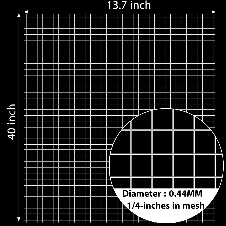 Allmart 1//4 Inch Wire Metal Mesh Chicken Wire Net 35 cm x 100 cm 13.7 x 40 Inches Hardware Cloth Silver Galvanized Welded Wire Metal Mesh Chicken Coop 2 Sheets Garden Use Rabbit Fence