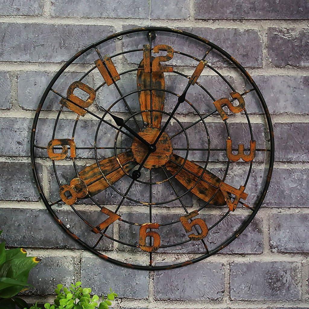 Abanico Redondo De Hierro Forjado Reloj De Pared Reloj Barra Decoración Hogar Artesanía Reloj Color Óxido (20 Pulgadas O Más) (Color : B)