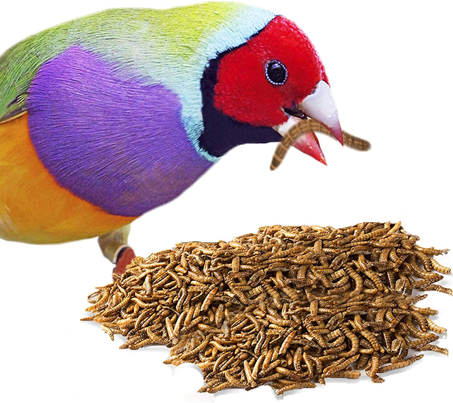 MERIC Mealworm for Birds, Encourages Alertness and Aids in Muscle Development, Supports Reproduction, Well-Balanced Treats, Conveniently Packed in Resealable Zip-Lock Bag, 3.5 oz.