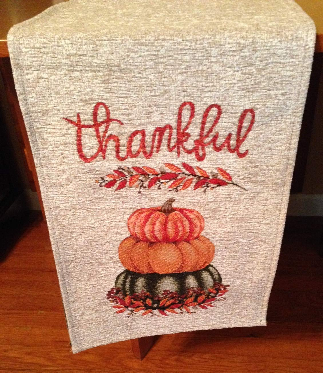 Autumn Radiance Thankful Pumpkin Table Runner, 13 x 72