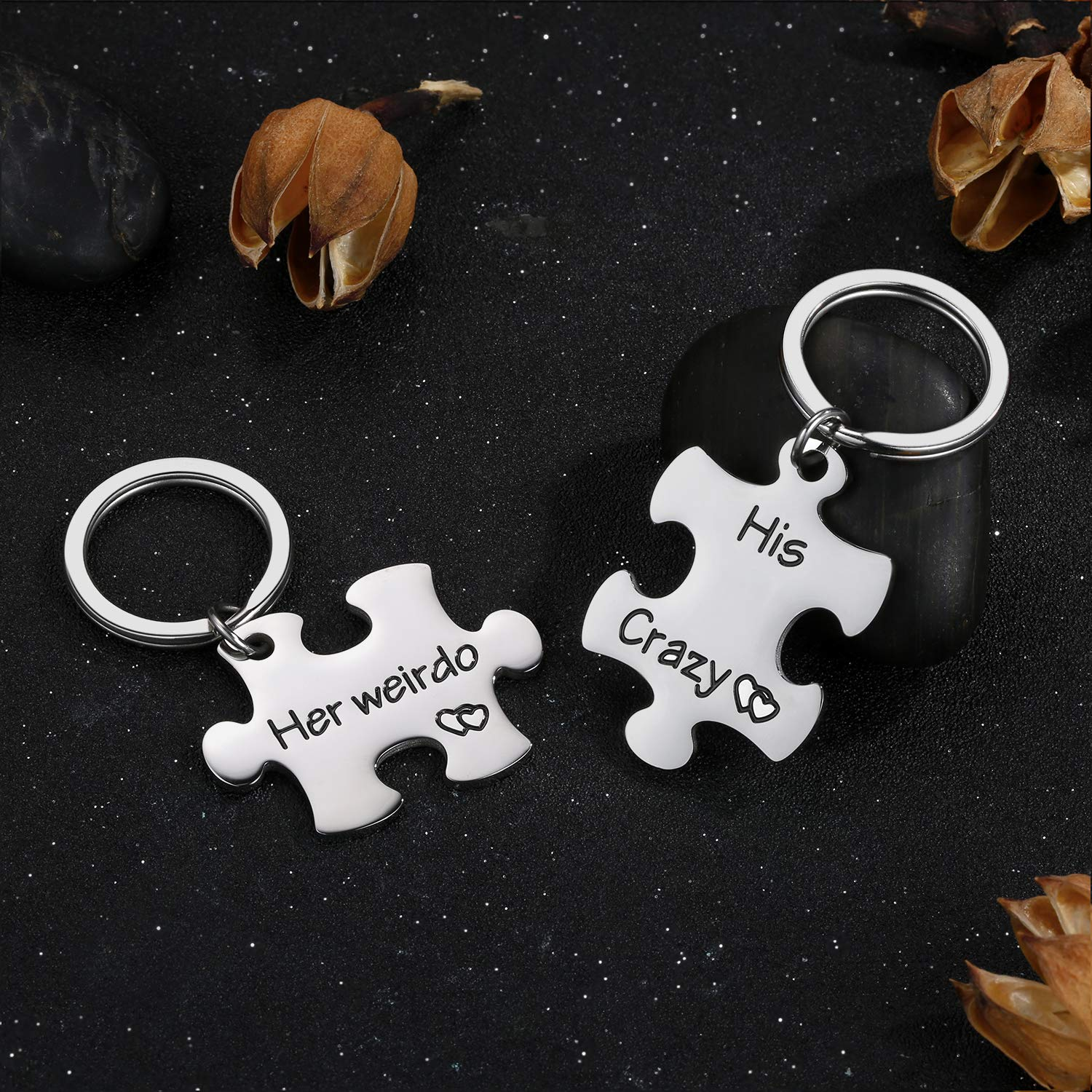 Engraved Jewelry Valentine/'s Day Birthday Anniversary Gifts for Boys Girls by Vallgox Set of 2 Key Ring for Girlfriend Boyfriend Wife Husband Women Men His Crazy Her Weirdo Couple Keychain Gifts