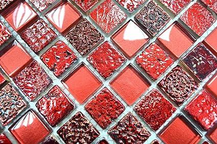 Piastrelle a mosaico in vetro trasparente rosso per bagno bagno