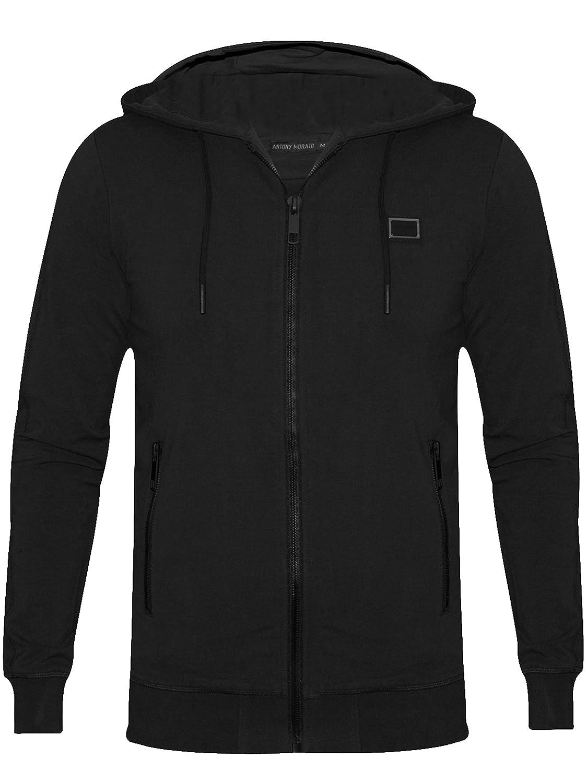 Antony Morato Schwarze Tafel Logo Reißverschluss Sweatshirt mit Kapuze