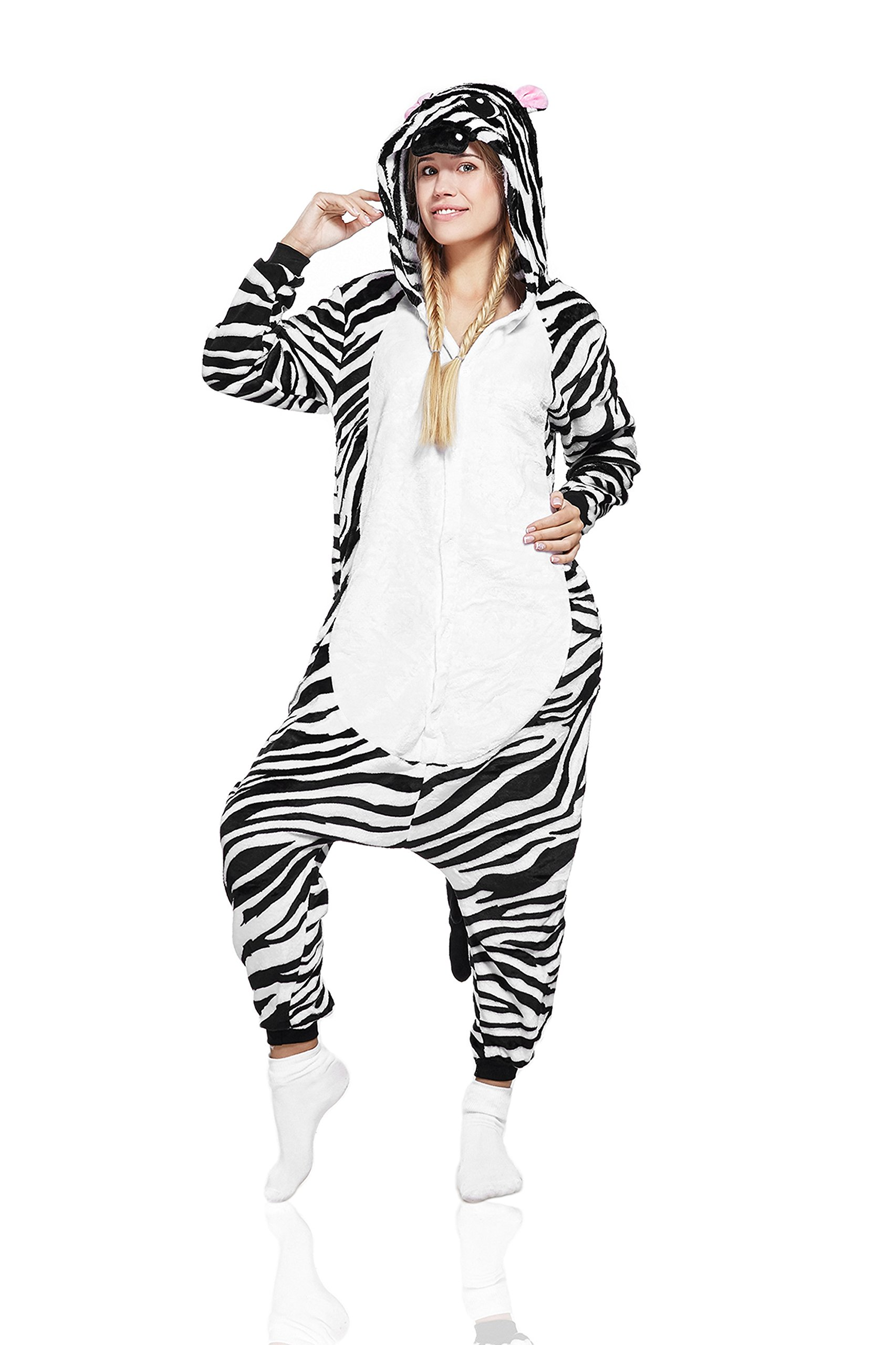 Adult Zebra Onsie Pajamas Animal Kigurumi Onesie Cosplay Costume Warm Fleece Pjs (M, black, white)