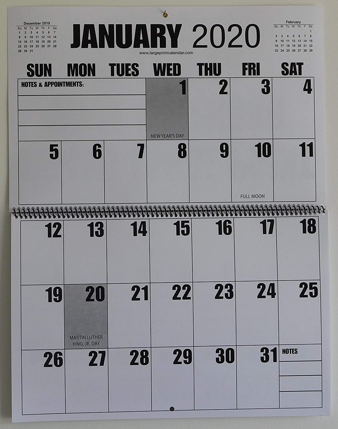 """Jumbo Large Print 2020 Wall Calendar 13-Months, 17"""" x 11"""", or Hanging it is 17"""" x 22"""""""