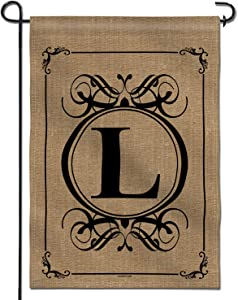 Anley Classic Monogram Letter L Garden Flag, Double Sided Family Last Name Initial Yard Flags - Personalized Welcome Home Decor - Weather Resistant & Double Stitched - 18 x 12.5 Inch