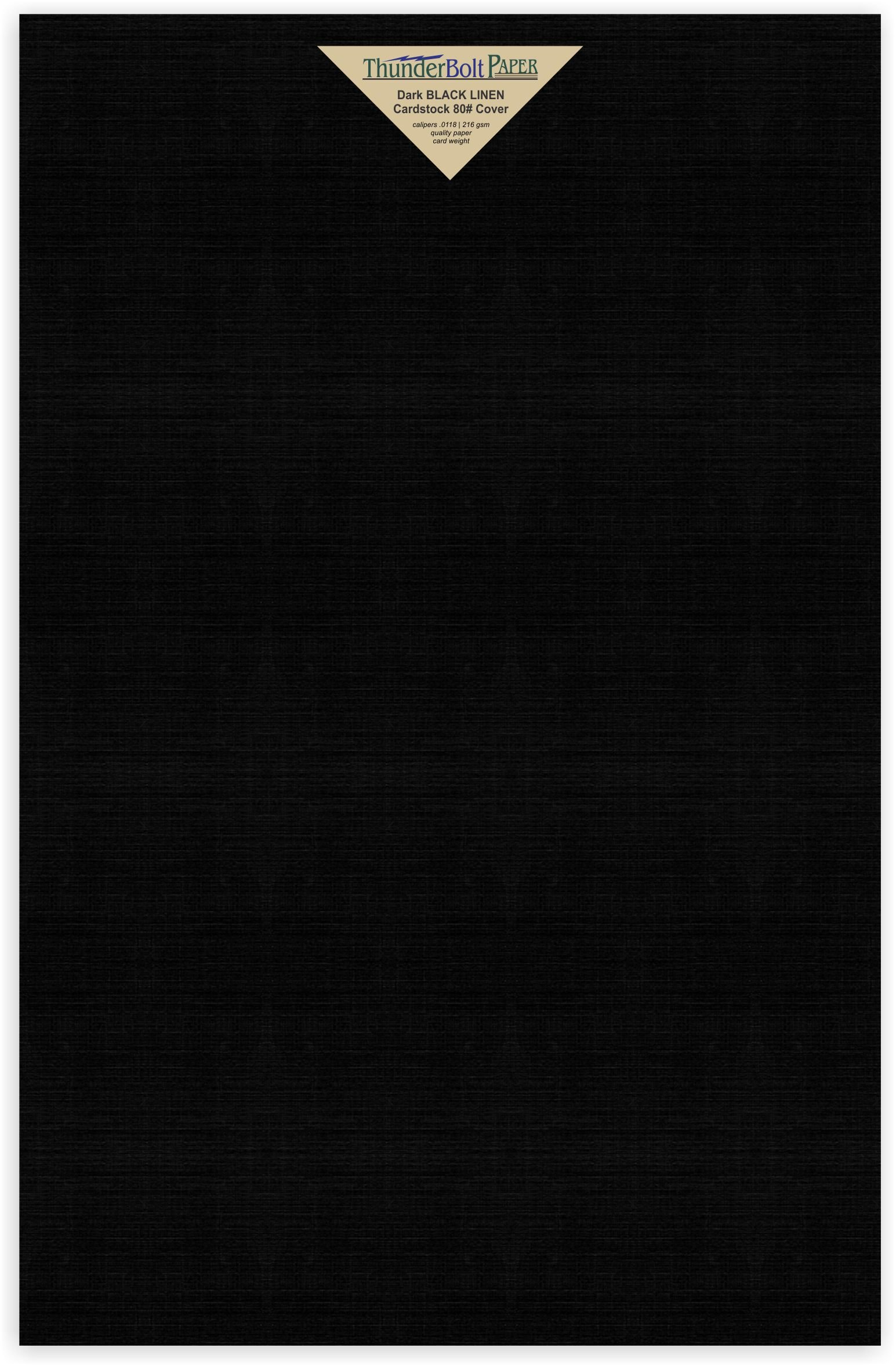 25 Black Linen 80# Cover Paper Sheets - 12'' X 18'' (12X18 Inches) Large|Poster Size - Card Weight - Deep Dye, Fine Linen Textured Finish - Quality Cardstock