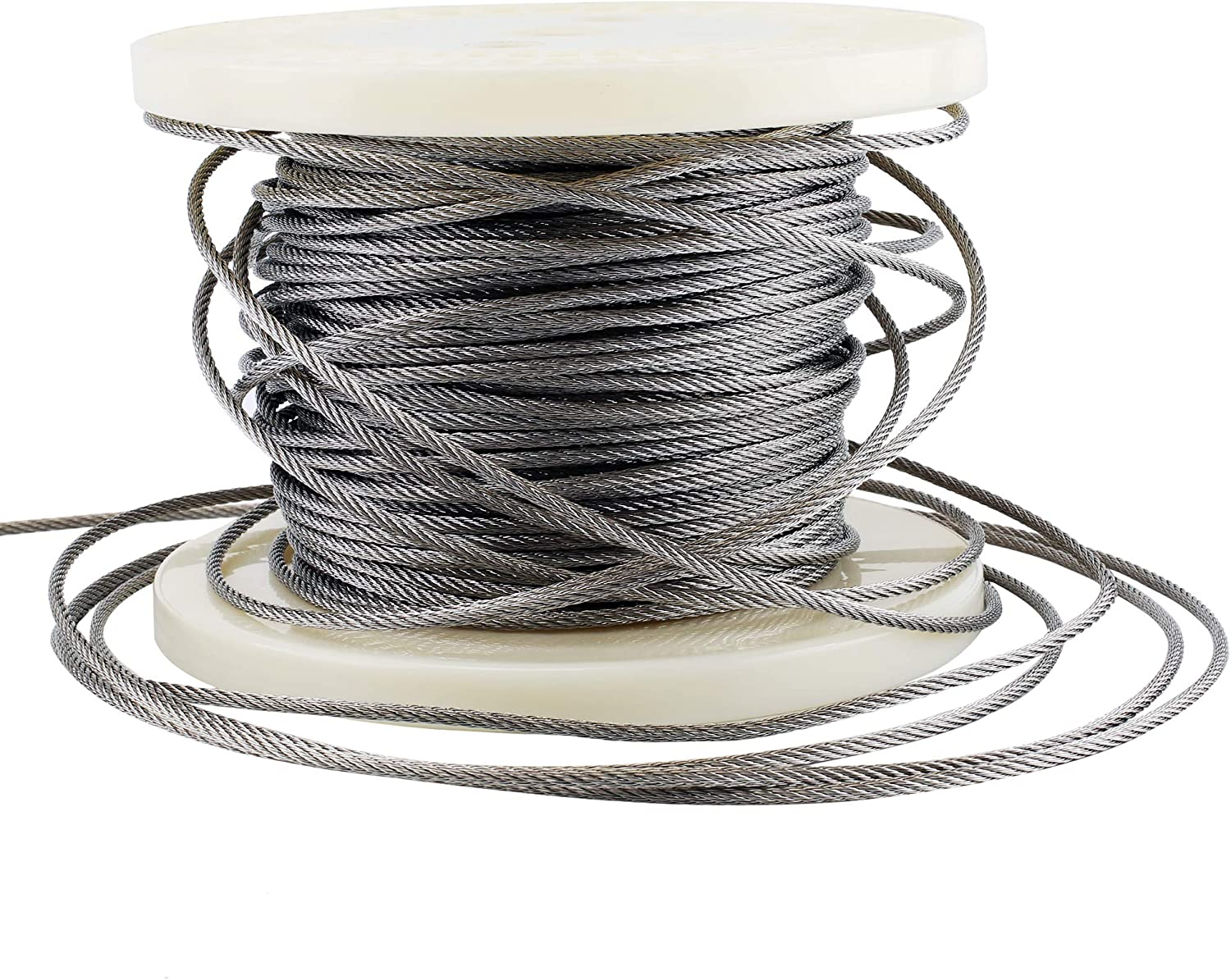 Decking DIY Balustrade LS Muzerdo 200Ft Stainless 1//8Inch Aircraft Steel Wire Rope Cable 7x7 for Railing