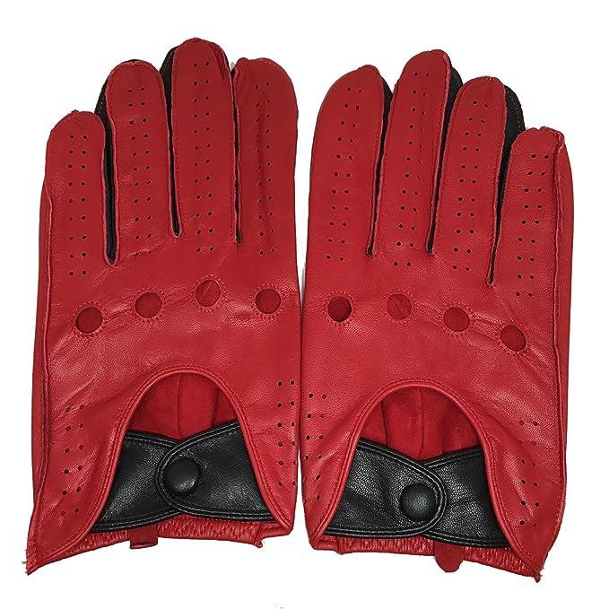 Matsu da uomo moto guida Full finger Black sfoderato guanti in pelle  apertura posteriore M1047 Red medium  Amazon.it  Abbigliamento a6028ea464be
