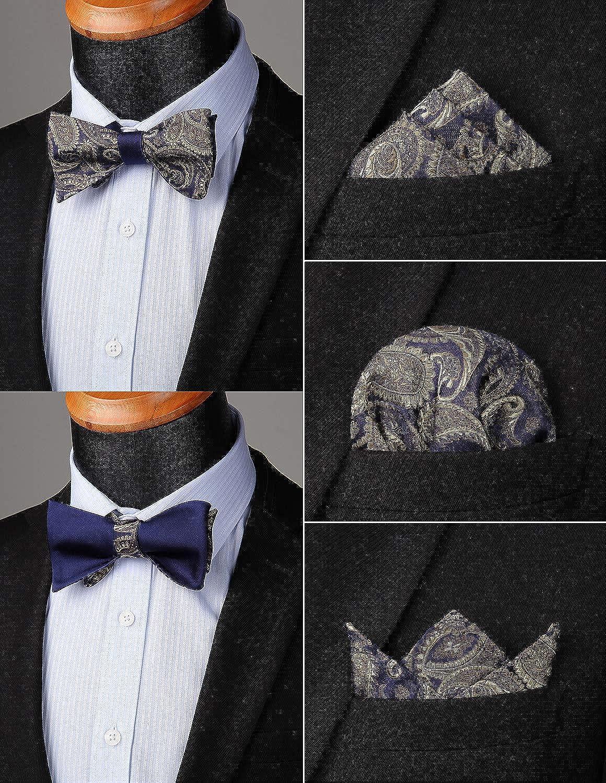 Enlision Moda uomo doppia faccia Jacquard Self Bow Tie /& Pocket Square Set festa di nozze