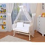 WALDIN Lit cododo berceau tout équipé pour bébé,bois blanc laqué,14 modèles disponibles,couleur du textile blanc