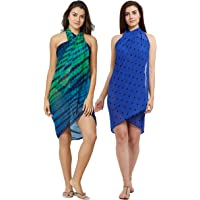 SOURBH Summer Body Cover Up Beach Wear Dress Wrap Sarong Set in Combo Value Pack for Women Pareo Swimsuits - Set of 2 (Free Size)