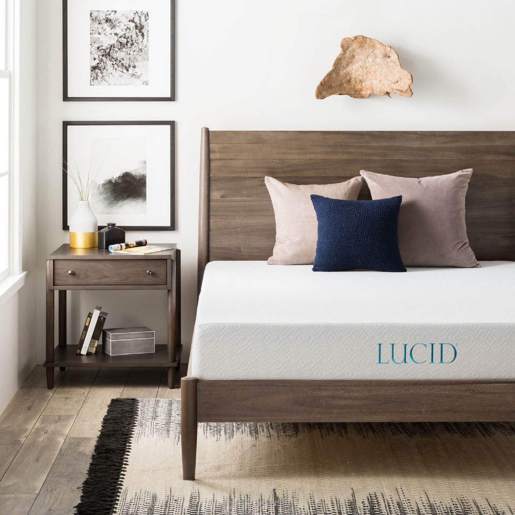 LUCID 8 Inch Gel Infused Memory Foam Mattress - Medium Firm Feel - CertiPUR-US Certified - 10-Year warranty - Queen by LUCID