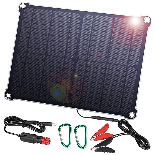 SUAOKI Cargador Panel Solar Portátil 16W 18V impermeable con enchufe para encendedor de cigarrillo, Pinzas de cocodrillo y diodo de bloqueo ...
