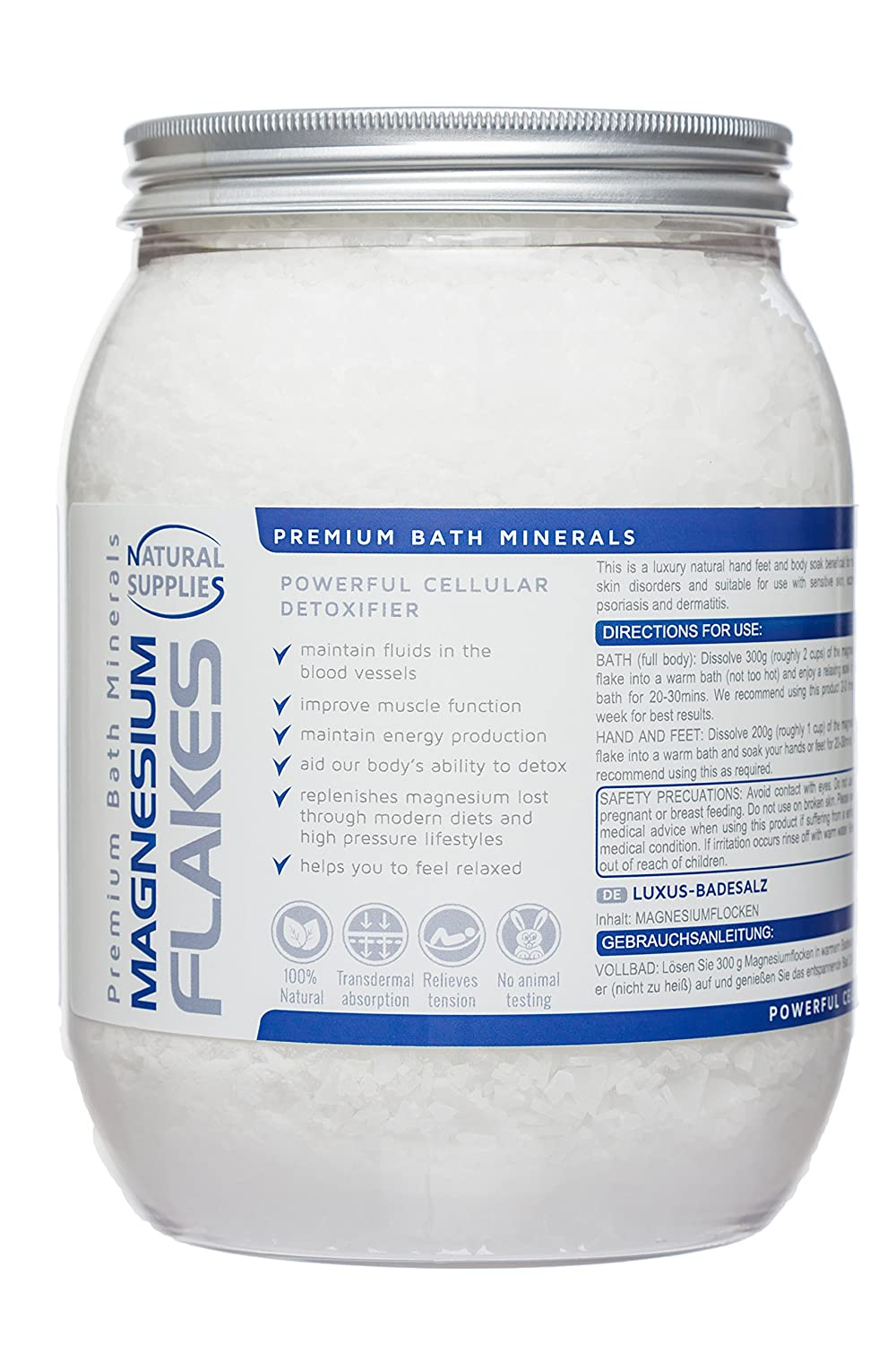 Magnesium Flakes 1.2kg, Premium Bath Salts Relaxing Therapy - (Magnesium Chloride Hexahydrate) - Resealable: Amazon.es: Belleza