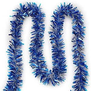 "Super Holiday 4"" Tinsel Twist Garland, 30Ft Artifical Garland for Christmas Tree, Perfect Decoration for Holiday Wendding Birthday Party.(Blue/Silver)"